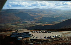 Aerial View of Sky Line Inn and Parking Area on the Summit of Mt. Equinox Postcard