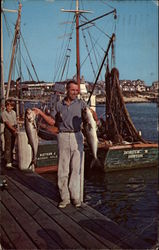Proud Fisherman with Prize Catch of Bluefish