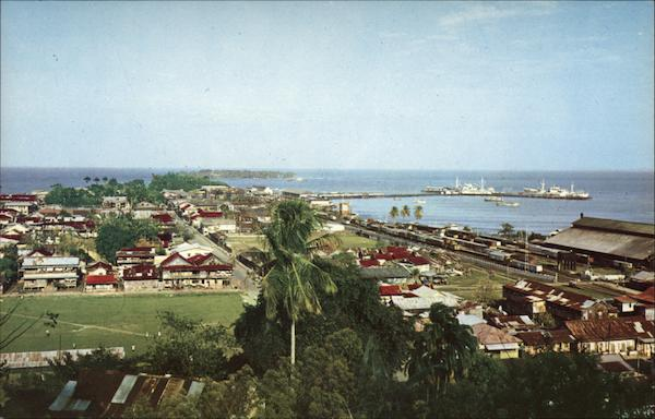 Bird's Eye View of Town Port Limon Costa Rica Central America