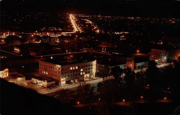 Night View Of City Fresno Ca