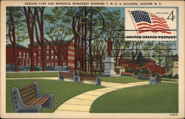 Seward Park and Memorial Monument Auburn New York First Day Issue Cards