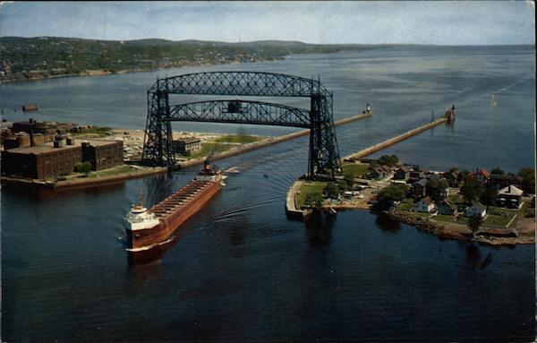 Aerial View of Bridge Duluth Minnesota Gallagher's Studio of Photography