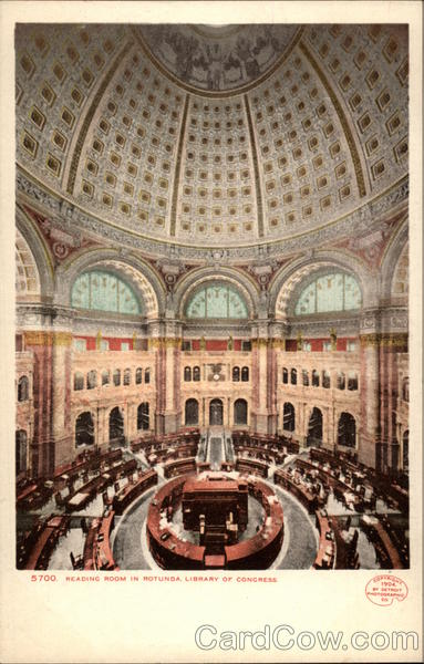 Reading Room in Rotunda, Library of Congress Washington District of Columbia