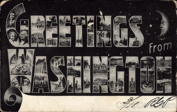Greetings from Washington District of Columbia Faces in Letters