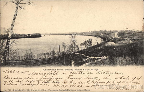 Connecticut River, showing Barney Estate on right Springfield Massachusetts
