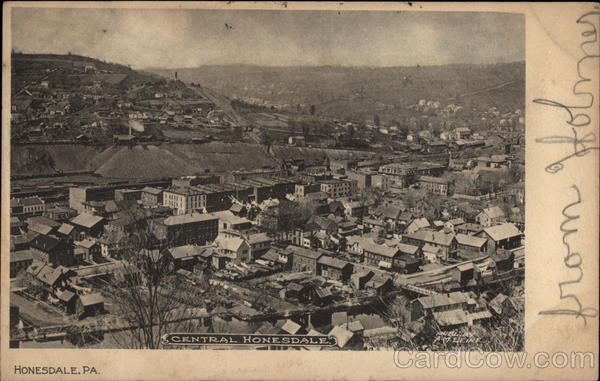 Aerial View of Town Honesdale Pennsylvania