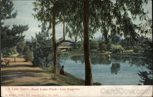 A Lake Scene - East Lake Park Los Angeles California
