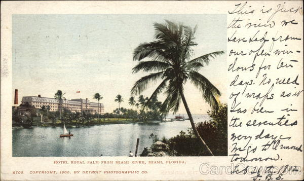 Hotel royal Palm from Miami River Florida