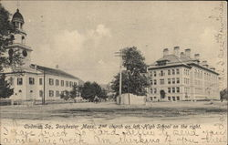 Codman Sq., 2nd Church on Left, High School on the Right