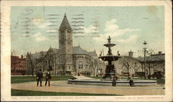 City Hall Park and Carnegie Library Postcard