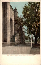 The Old Stairway, San Gabriel Mission Postcard
