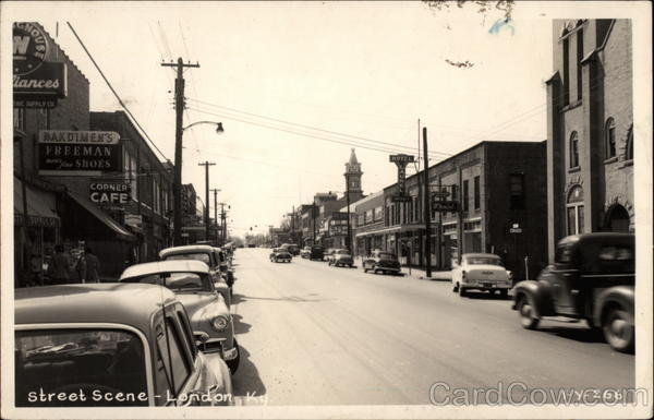 Street Scene with Shops and Cars London Kentucky