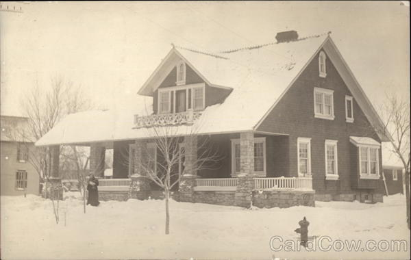 Snow Scene with Large House Buildings