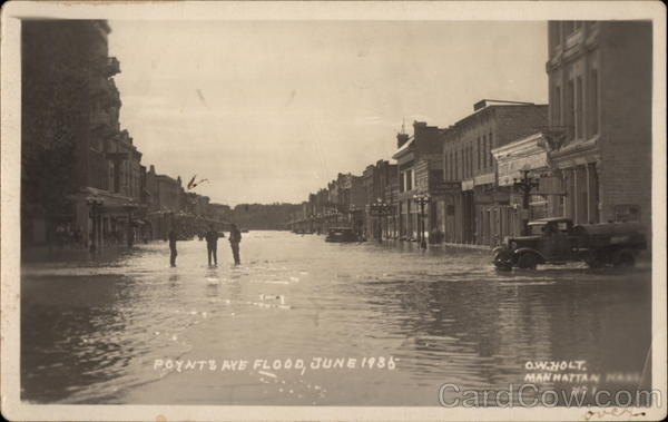 Poyntz Ave Flood, June 1935 Manhattan Kansas