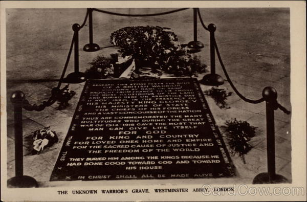 The Unknown Warrior's Grave, Westminster Abbey London England