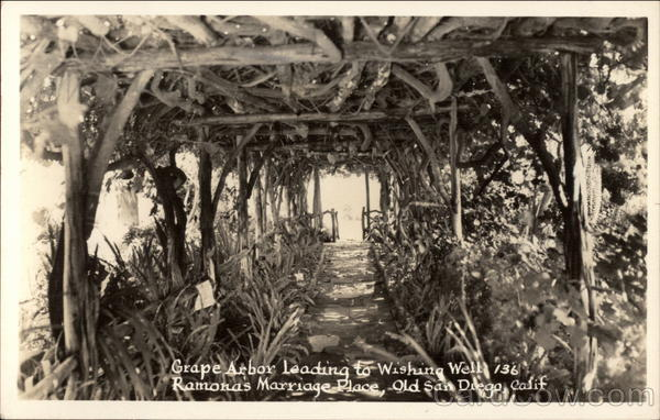 Grape Arbor Leading to Wishing Well, Ramona's Marriage Place San Diego California