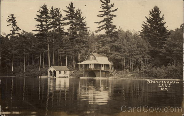 Brantingham Lake View With Trees and Cottage New York