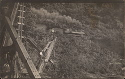 Train Going By Men Working on Steamshovel