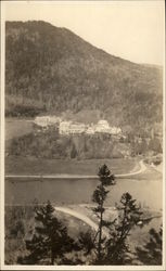 Aerial View of Hotel in Mountains Postcard