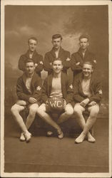 "Six Young Men with Basketball, ""1914 W.C."""