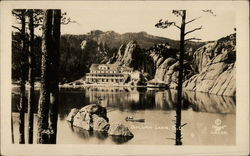 View of SYlvan Lake with Rocks, Trees and Building