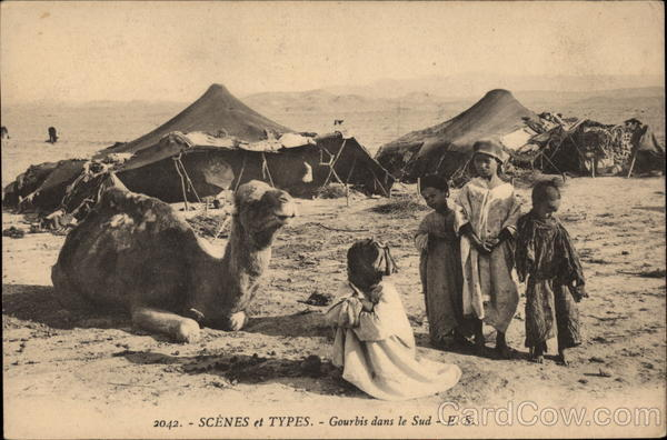 Nomads in the South, with Tents, Children, and Camel Algeria