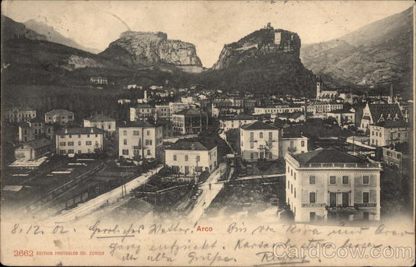 View of Arco, with Castle and Cliffs Italy