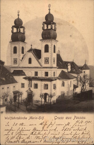 Greetings from Passau, with View of Mariahilf Pilgrimage Church Germany