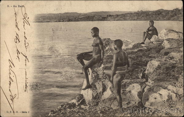 African Women Bathing by the Sea