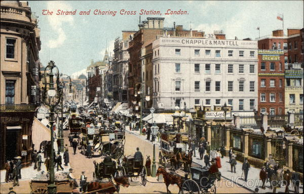 The Strand and Charing Cross Station London England