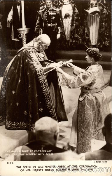 The Archbishop of Canterbury Presents the sceptre with Cross London England