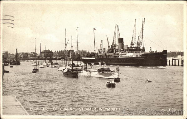 Departure of Channel Steamer Weymouth England Dorset