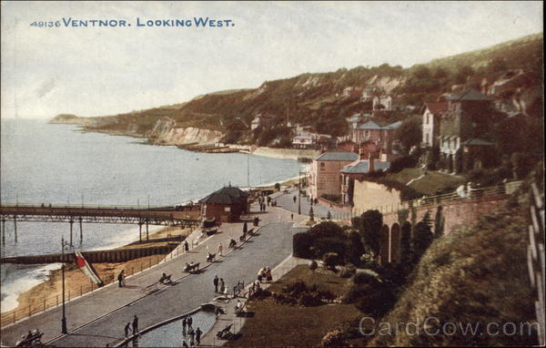 View of Town Looking West - Isle of Wight Ventnor City England