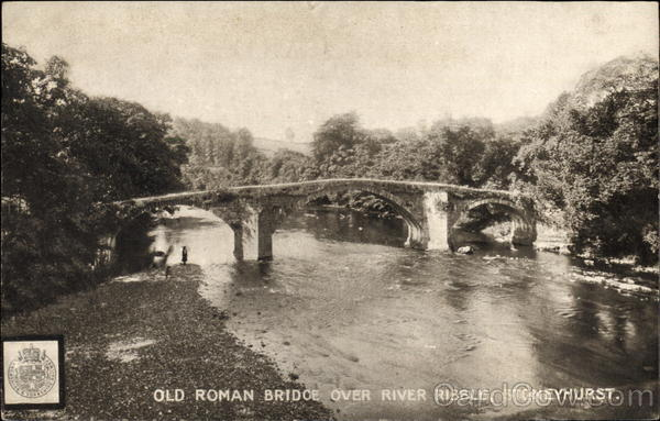The Old Roman Bridge over River Ribble Stoneyhurst England