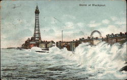 View of Stormy Waves & Blackpool Tower