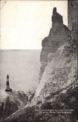 Devil's Chimney & Lighthouse, Beachy Head, Eastbourne Postcard