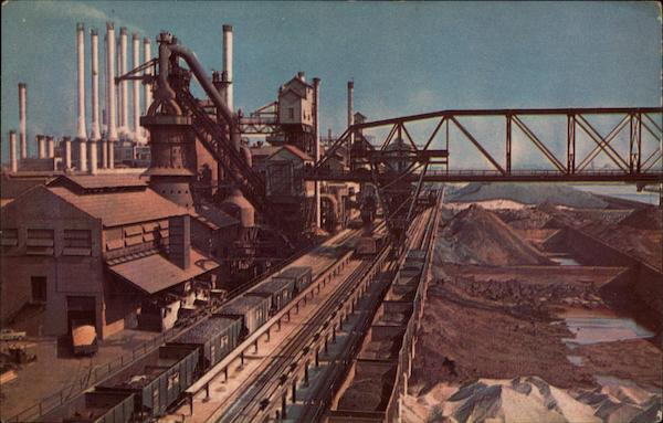 Blast Furnaces And Giant Raw Materials Storage Bins Dearborn Michigan