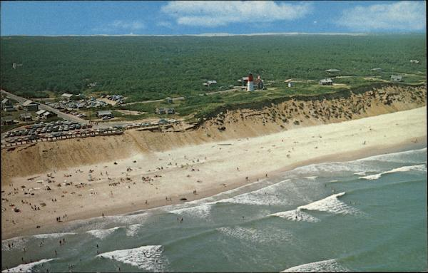 Air View of Nauset Light and Beach, Eastham - National Seashore Cape Cod Massachusetts
