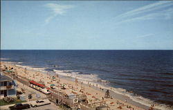 Scene near Mid-section of Beach, Surf & Boardwalk, showing Boardwalk Train