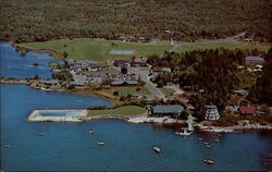 Aerial View of Sebasco Lodge and Cottages on Casco Bay