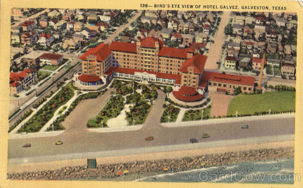 Bird's Eye View of Hotel Galvez Galveston Texas