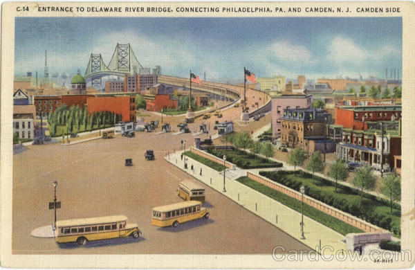 Entrance To Delaware River Bridge - Buses Camden New Jersey