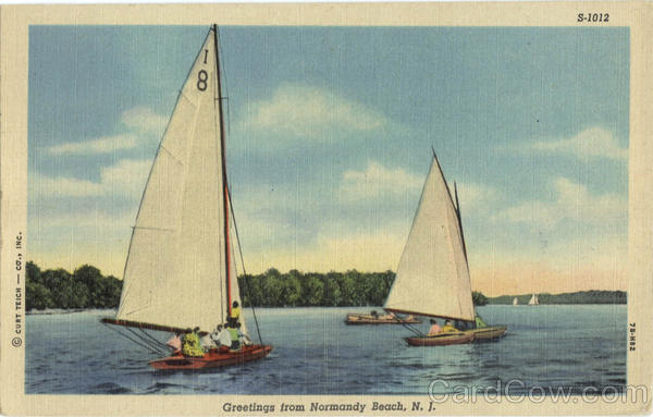 Greetings From Normandy Beach New Jersey Sailboats