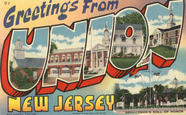 Greetings From Union New Jersey Large Letter