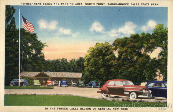 Refreshment Stand And parking Area , Taughannock Falls State And Parking Area Finger Lakes New York