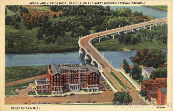 Aeroplane View of Hotel Van Curler And Great Western Gateway Bridge - 1 Schenectady New York
