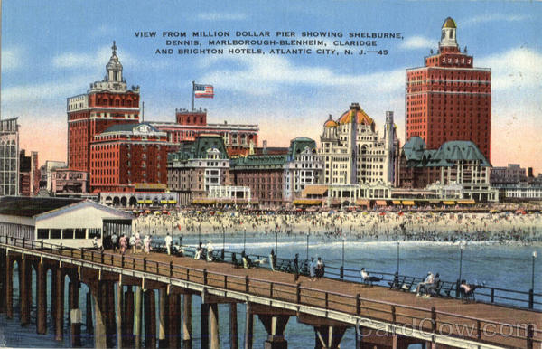 View From Million Dollar Pier Showing Shelburne Atlantic City New Jersey