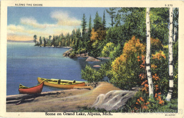 Scene On Grand Lake Alpena Michigan Canoes & Rowboats