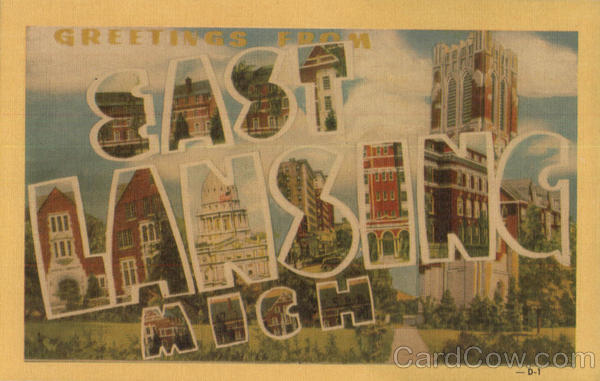 Greetings From East Lansing Michigan Large Letter