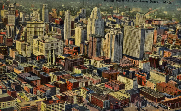 Aerial View Of Downtown Detroit Michigan